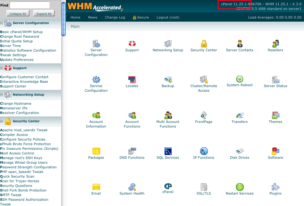 WHM Homepage for Dedicated Server
