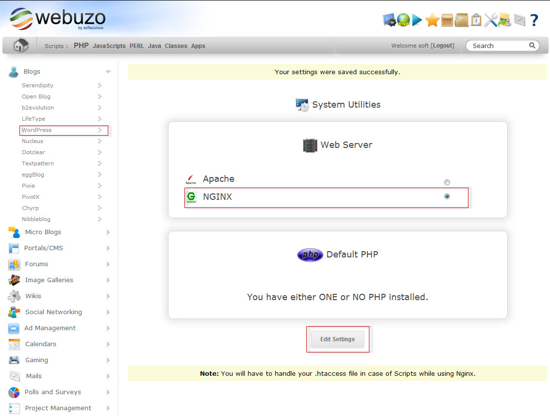 How to install webuzo, nginx and setup .htacess rules for wo