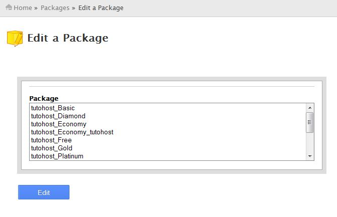 Select the specific package and click on Edit button